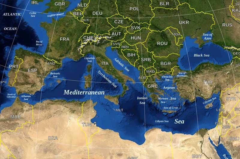 Mittelmeer Quiz - Mittelmeer Karte