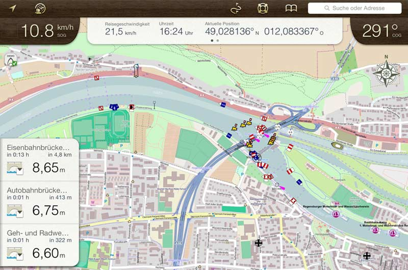 Bootsnavigation App Rivers & Seas