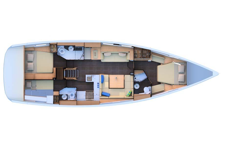 Jeanneau 51 unter Deck Layout