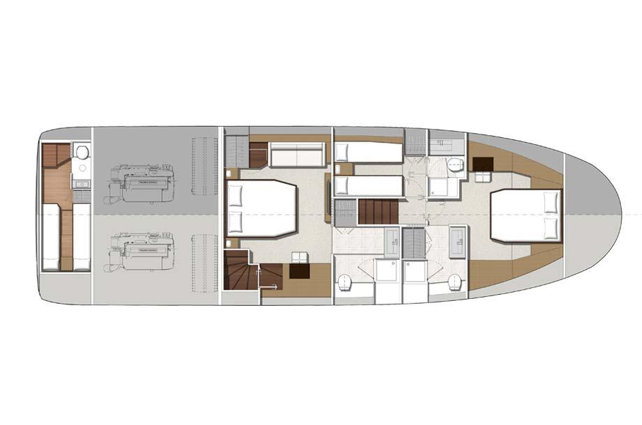 Prestige 630 Yacht Gundriss Unter Deck