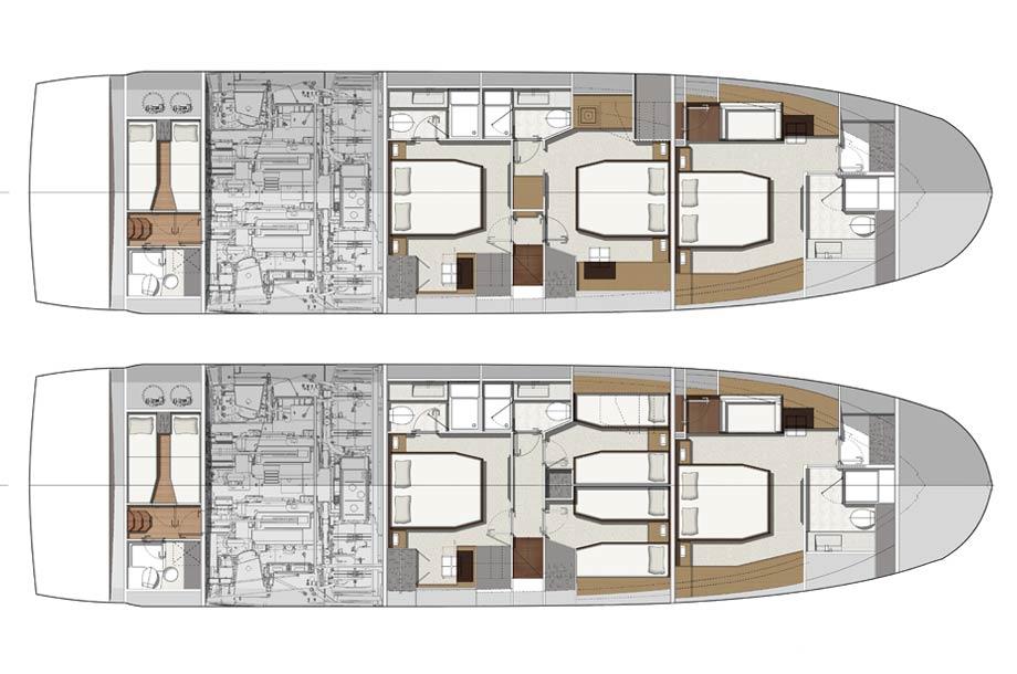 Prestige 680 S - Grundriss unter Deck